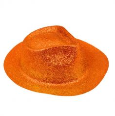 Chapeau Borsalino à Paillettes - Orange Fluo