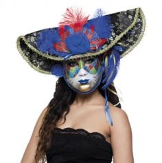 Masque Vénitien Deluxe - Pirate - Bleu et Rouge