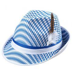 Chapeau de Tyrolien à Damier Bleu et Blanc - Adulte