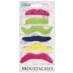 Set de 6 Moustaches adhésives fluos