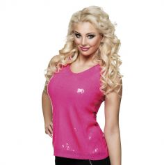 Top à sequins - Rose fluo - Taille M