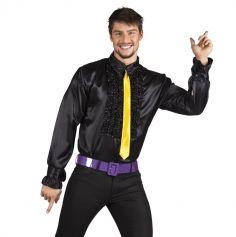 Chemise Disco Noire Pour Homme - Taille au Choix