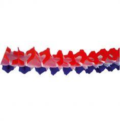 """Guirlande en Papier """"Zinnia"""" Tricolore - Bleu, Blanc, Rouge"""
