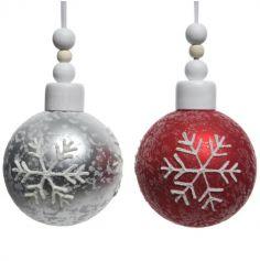 Boule de Noël - Flocons de Neige Pailletés - Rouge ou Blanc