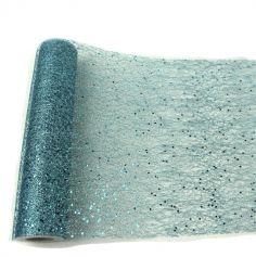 Chemin de table Glitter 30cm x 500cm - Bleu Polaire