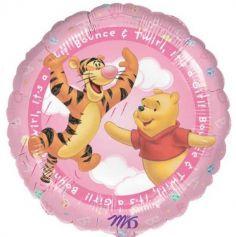"Ballon Métallique Hélium Rond - Winnie L'Ourson - ""It's a girl"""