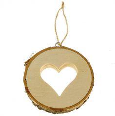 Rondin de bois avec Coeur et lien de 10 cm