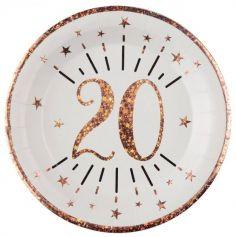 10 Assiettes en carton - Joyeux Anniversaire Etincelant - Rose Gold - Age au Choix