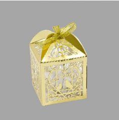 10 Boites en carton Colombes et Coeur - Effet Métal - Rose Gold ou Or