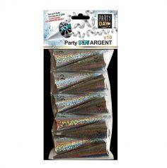 10 cones serpentins argent ou or couleur au choix | jourdefete.com