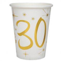 10 Gobelets en Carton Anniversaire - Blanc et Or - 30 ans | jourdefete.com