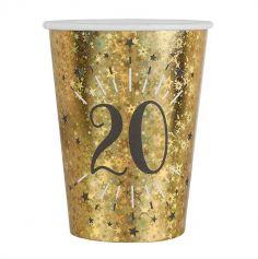 10 Gobelets en carton - Joyeux Anniversaire Etincelant - Or - Age au Choix