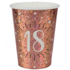 10 Gobelets en carton - Joyeux Anniversaire Etincelant - Rose Gold - Age au Choix