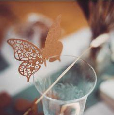 10 Marque-Verres Papillon - Kraft