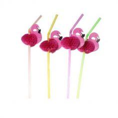 10 Pailles en plastique - Flamant rose | jourdefete.com