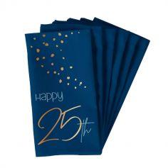 10 Serviettes en papier - Anniversaire Elégant - Bleu & Or - Age au Choix