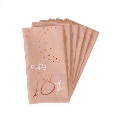 serviettes en papier blush et rose gold pour anniversaire | jourdefete.com