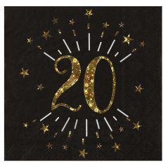 10 Serviettes en papier - Joyeux Anniversaire Etincelant - Age au Choix