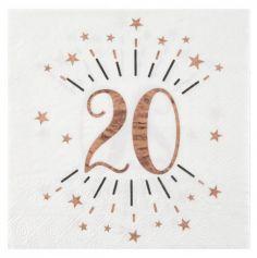 10 Serviettes en papier - Joyeux Anniversaire Etincelant - Rose Gold - Age au Choix