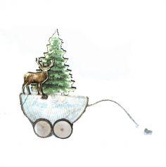Décoration à poser Noël - Bois - Petit Chariot à tirer - Cerf et Sapin