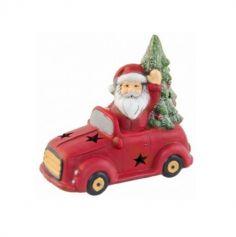 Décoration à poser Noël - Père Noël dans sa voiture