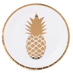 "Sachet de 8 Assiettes ""Ananas Or"""