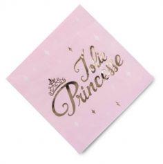 """Sachet de 16 serviettes rose pastel """"Jolie Princesse"""""""
