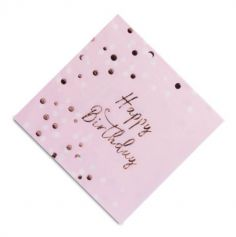 "Sachet 16 serviettes en papier ""Happy Birthday Rose Gold"""