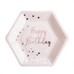 "Sachet de 8 assiettes hexagonales ""Happy Birthday Rose Gold"""
