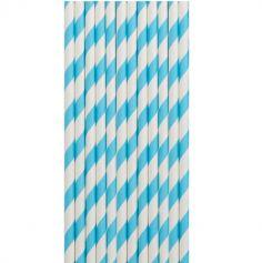 12 pailles rayées en papier - 20 cm - Couleur au Choix