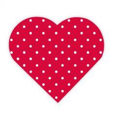 12 Serviettes en forme de Cœur rouge à pois blancs