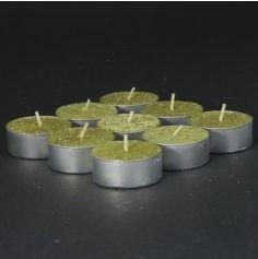 Blister de 9 Bougies Chauffe-Plat Texturées - Paillettes - Or