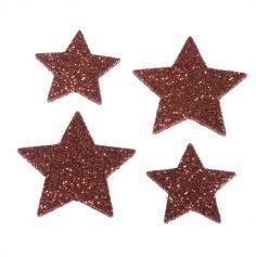 Sachet de 12 étoiles à paillettes rouges