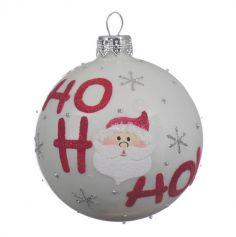 Boule de Noël en Verre - Ho Ho Ho - Blanc