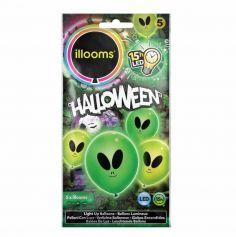 5  Ballons de baudruche led - Alien vert