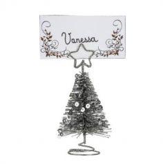 Marque Place - Noël - Sapin Métal avec Sequins - Argent