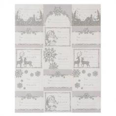 Planche de 15 Étiquettes Cadeaux Noël - Paillettes Argent et Strass