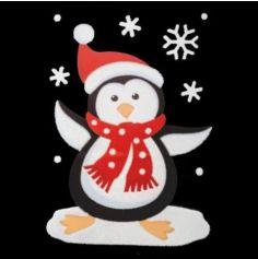 Décoration de Fenêtre Autocollante - Noël - Pingouin