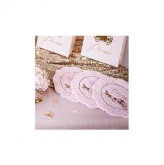 16 Serviettes en papier - Princesse Rose & Or - 3 Plis