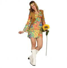 Déguisement Robe avec Gilet Hippie Femme - Taille au Choix