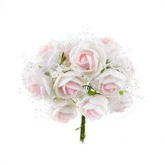 Sachet de 12 roses roses pailletées et tulle sur tige