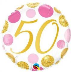 Ballon metallise 46 cm diametre - 50 ans - ballon geant gonflable a l'helium | jourdefete.com