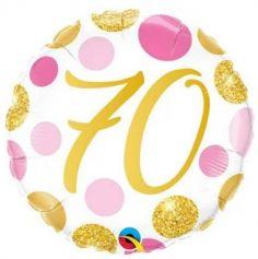 Ballon metallise 46 cm diametre – 70 ans - ballon geant gonflable a l'helium | jourdefete.com