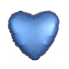Ballon Hélium Cœur Satiné Bleu Azur