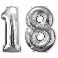 Ballons Hélium - 18 ans - Argenté