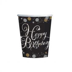 "8 Gobelets ""Happy Birthday"" - Argent / Noir"