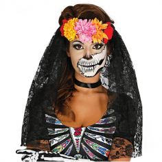 Bandeau de Fleurs + Voile Day Of the Dead - Multicolore