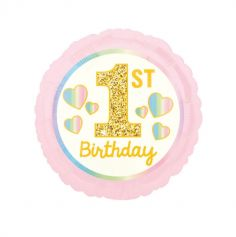ballon aluminium 1st birthday rose et dore   jourdefete.com