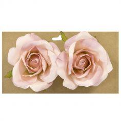 2 Roses Boutons à Poser ou à Attacher - 10 cm – Blanc ou Rose