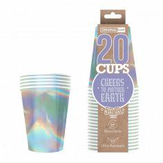 20 Gobelets en carton - Recyclables - 53 cl - Couleur au Choix